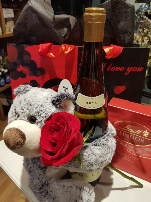 LOVE HUGS & CHEERS! Single rose, bear, wine and box of chocolates in Halifax, NS | Twisted Willow