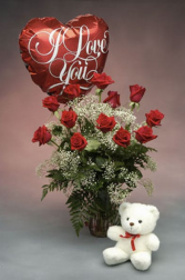 Love , hugs and roses vase arrangement