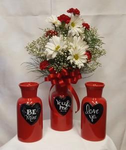 Love in a bottle vase arrangement