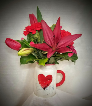 Love in a Mug-SOLD OUT Fresh arrangement in Bolivar, MO | The Flower Patch & More
