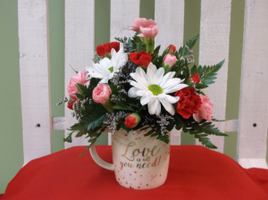 LOVE IS ALL YOU NEED MUG ARRANGEMENT in Springfield, VT | WOODBURY FLORIST