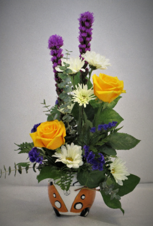 LOVE IS GOLDEN IN A GREEN VW (YELLOW SOLD OUT) FRESH FLOWER ARRANGEMENT