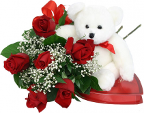 Love is in the air 1/2 doz roses bear and chocolates