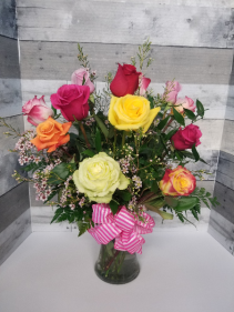Love Is In The Air Dozen colored roses w/vase