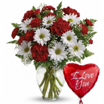Love is in The Air Red & White mixed bouquet