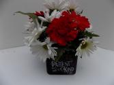 Love is Patient,Love is Kind cube vase arrangement