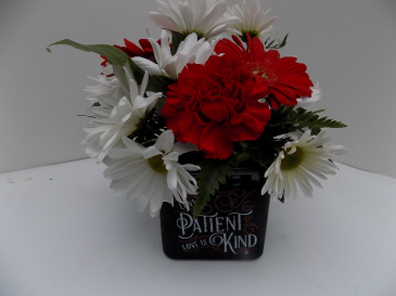 Love is Patient,Love is Kind cube vase arrangement