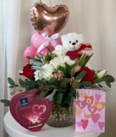 Love is Worth it All Flowers, Chocolate, Balloons Teddy Bear & Card Package
