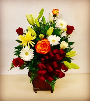 Love Lives Mixed Colors Designed in a Elegant Metal Decor Container in Plainview, TX | Kan Del's Floral, Candles & Gifts