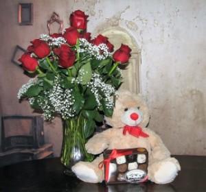 Love Me Tender 1Dz Red Roses Medium Light Brown Bear + Medium Box of Chocolates in Stevensville, MT | WildWind Floral Design Studio