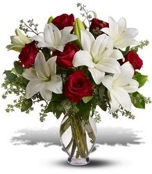 Timeless Romance  Red roses  & white lilies