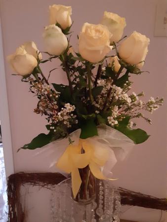love me tender half dozen roses in vase