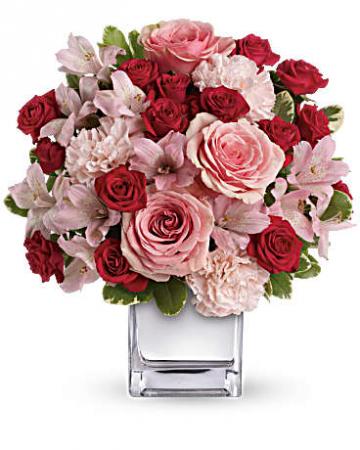 Glitter Medley Bouquet  Cube Arrangement