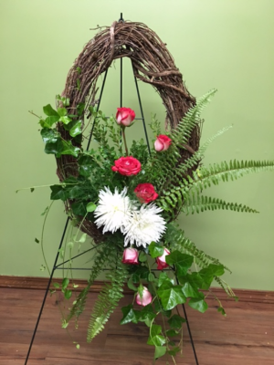 LOVE NEVER ENDS FUNERAL WREATH in Porter, OK | Happy Bee Flowers & Gifts