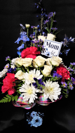 Love of blue vase arrangement