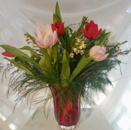 Love of Mine Tulips Mixed Tulip Vase Arrangement
