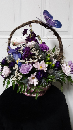 Love of purple centerpiece basket arrangement