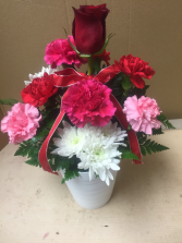 Love pot Roses and carnations
