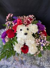 Love Puppy Puppy Carnation Flower Arrangement