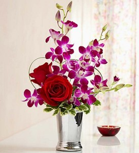 Roses & Orchids Designed in Sleek Julep Cup