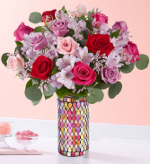 Love Song Bouquet Mosaic Vase arrangement