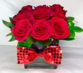 "V14 Love ""Squared"" Dozen Red Rose Cube"