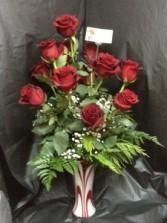 LOVE SWIRL HAND BLOWN GLASS & 12 ROSES