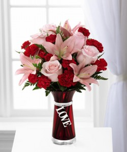 """EXPRESSIONS OF LOVE Red Vase w/ """"Love"""" in Stafford, VA   Anita's Beautiful Flowers"""