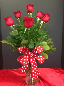 Love Ya Babe Vase of 6 red roses