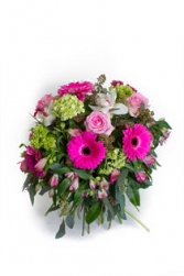Love You Always Handtie of mixed pink and green flowers