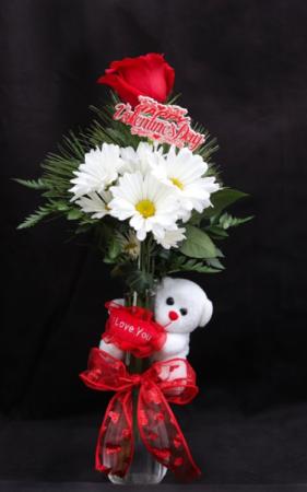 Love You Beary Much Fresh Vase Arrangement