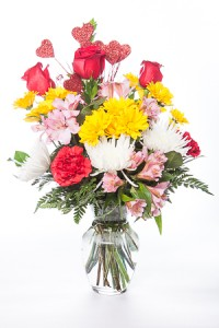 Hearts & Flowers Bouquet Mixed flowers in vase