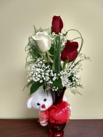 I Love You Budvase Teddy and Roses