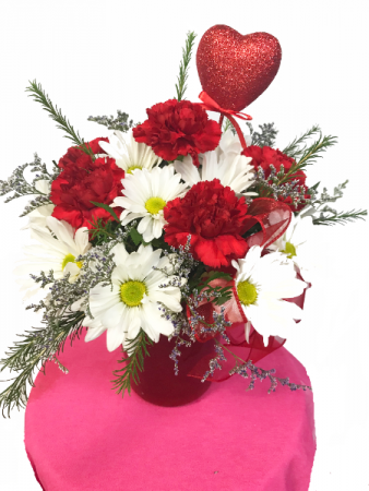 You Have My Heart Red Carnations and White Daises