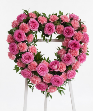 "Love You Forever Heart Wreath 18 "" Standing Spray Wreath in Lebanon, NH 