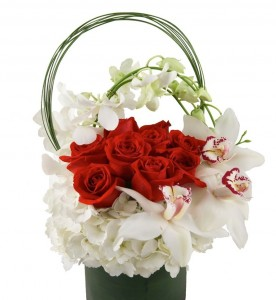 Love You in Red Hydrangea, Red Roses and Orchids