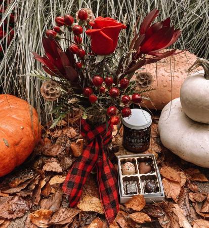 Homebody Bud vase arrangement, Candle, and Chocolates