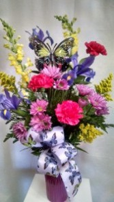 Pink Butterfly Vase fresh local delivery only