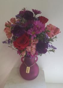 Love you more hot pink Vase arrangement