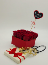 Love You Rose Box with mask Box of 16 Roses with Mask