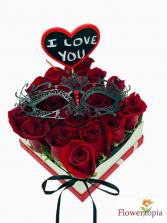 Love You Rose Box with mask Box of 20 Roses with mask