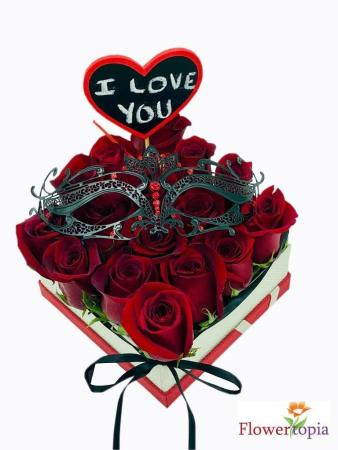 Love You Rose Box with mask Box of  Roses with mask