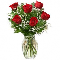 LOVE YOU SIX ROSES IN VASE WITH BABY BREATH & GREENERY