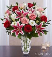 Love you till eternity  Lilly and dozen rose vase