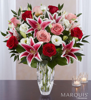 Love you till eternity  Lilly and dozen rose vase  in Ozone Park, NY | Heavenly Florist