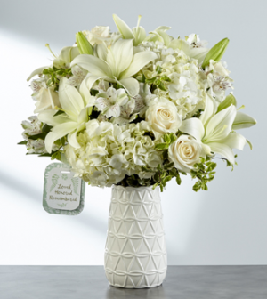 Loved, honored and remembered White ceramic vase in Claremont, NH   FLORAL DESIGNS BY LINDA PERRON
