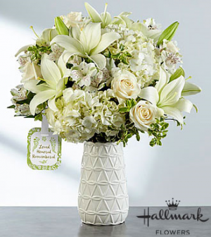 Loved, honored, remembered Ceramic Vase in Claremont, NH | FLORAL DESIGNS BY LINDA PERRON