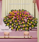 Lovely All Pink and Yellow Roses Sympathy Casket Spray