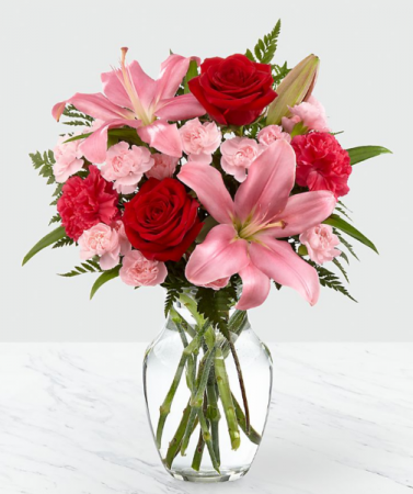 Lovely Feelings PINK LILIES AND RED ROSES