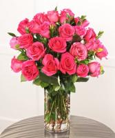 Lovely Hot Pink Roses Vased